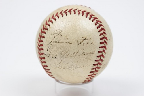 1940s Boston Red Sox HOFer Signed Baseball Autographed by Jimmie Foxx, Ted Williams & Bobby Doerr