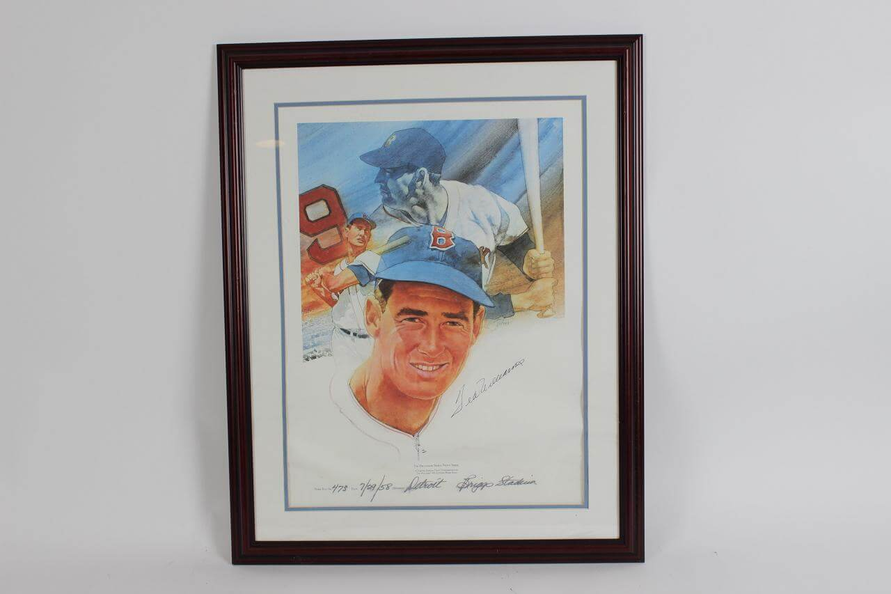 Ted Williams Signed Lithograph Red Sox - COA JSA