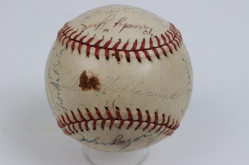 1946 Red Sox Team Signed OAL (Harridge) Baseball  (Stamped Ted Williams) (MVP), Cronin, Doerr, Pesky, DiMaggio,