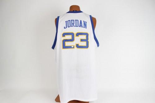 Chicago Bulls- Michael Jordan Signed Laney High School Jersey - COA PAAS