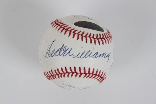 All-Century Team Signed OAL (Brown) Baseball 15 Sigs. Willie Mays, Ted Williams, Nolan Ryan, Hank Aaron etc.