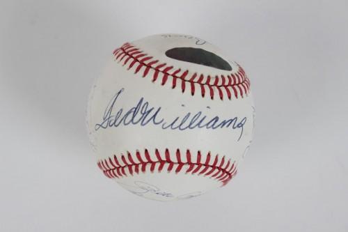 All-Century Team Signed OAL (Brown) Baseball 15 Sigs. Willie Mays, Ted Williams, Nolan Ryan, Hank Aaron etc.