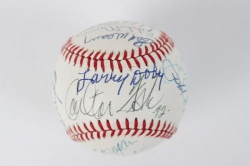 Hall of Fame Hitters Signed Baseball 18 Sigs. Incl. Joe DiMaggio, Hank Aaron, Carlton Fisk et al.