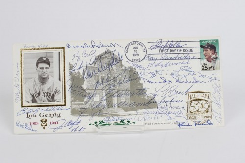 Official Hall Of Fame Commemorative First Day Cover Signed By 30 HOFers Incl. Ted Williams, Drysdale,Stargell,