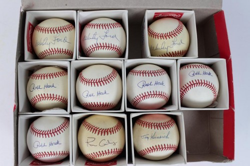 New York Yankees Large Single-Signed OAL Baseball Lot - (11) Feat. (4) Whitey Ford, (5) Raph Houk, Ron Guidry, Tommy Henrich & Yogi Berra