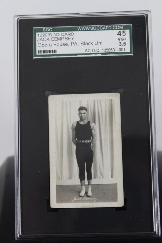 1920's Ad Card Boxing Great Jack Dempsey Opera House, PA  (SGC Graded 45 VG + 3.5)