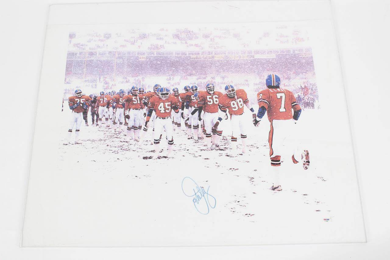 Denver Broncos - John Elway Signed 26x36 Canvas Art Display - COA PSA/DNA