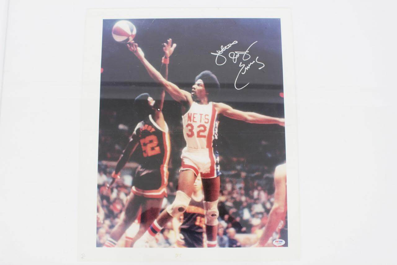 ABA Nets -Dr. J.- Julius Erving Signed 18x22 Canvas Art - COA PSA/DNA