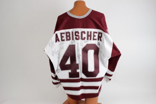 Hershey Bears David Aebischer & 97-98 Team Signed Authentic Bauer Jersey