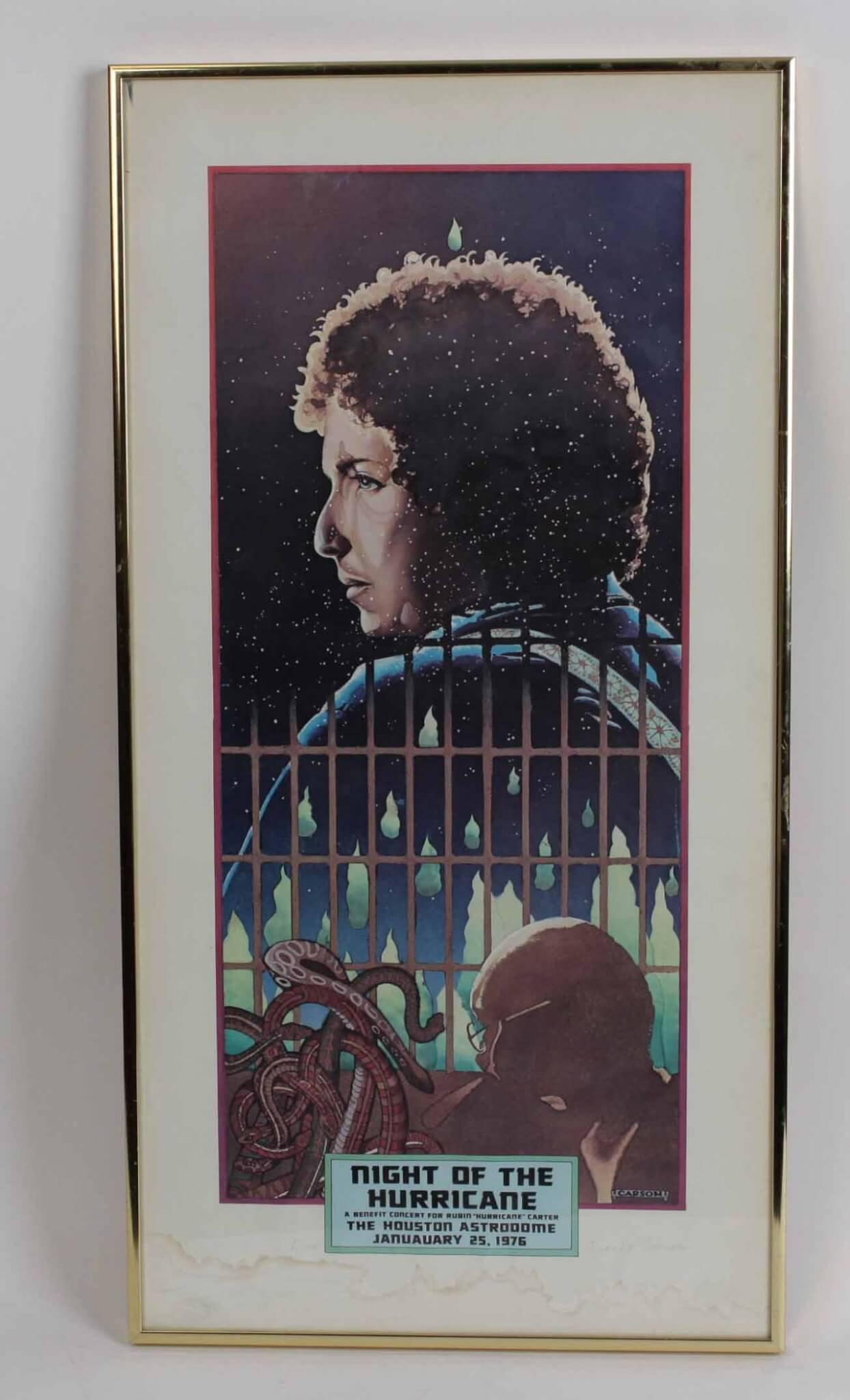 Bob Dylan Poster Display Signed by Artist Frank Carson - COA