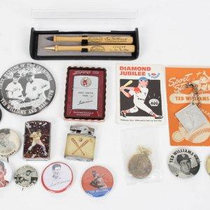 Boston Red Sox Ted Williams Memorabillia Lot-Pins, Zippos, Mini Bats etc