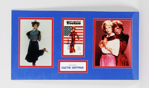 "Dustin Hoffman Signed ""Tootsie"" Movie Promo Photo 14x26 Matted Display - COA GAI"