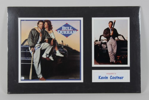 """Kevin Costner Signed """"Bull Durham"""" Movie Photo 17x26 Matted Display (GAI)"""