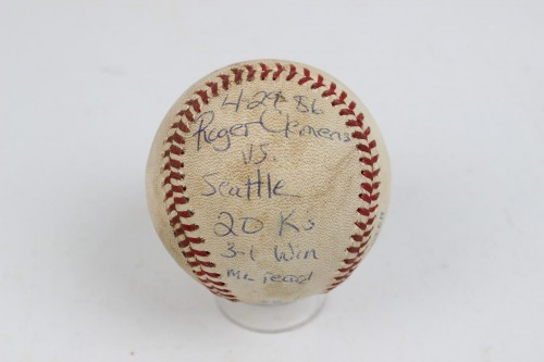 Red Sox 20 K's Strikeout- Roger Clemens Game-Used, Inscribed Baseball (Umpire LOA)