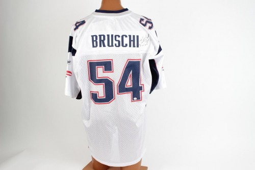 Patirots Tedy Bruschi Signed White Jersey