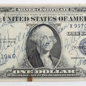 1954 Boston Red Sox Team Signed One Dollar Bill 17 Sigs. Include Ted Williams, Jack Jensen, Frank Sullivan etc.