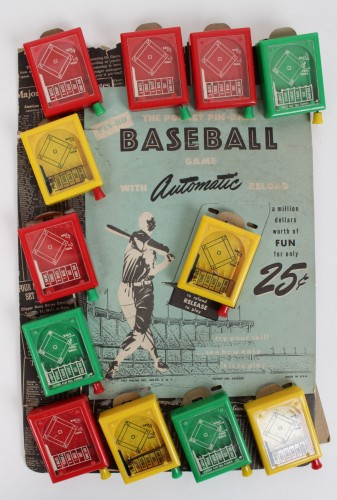 "1951 PIN-BO "" The Pocket Pin-Ball Baseball Game"" 10 Games with Store Display"