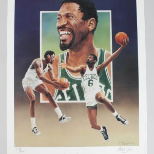 Boston Celtics Bill Russell Signed 16x20 Paluso Lithograph