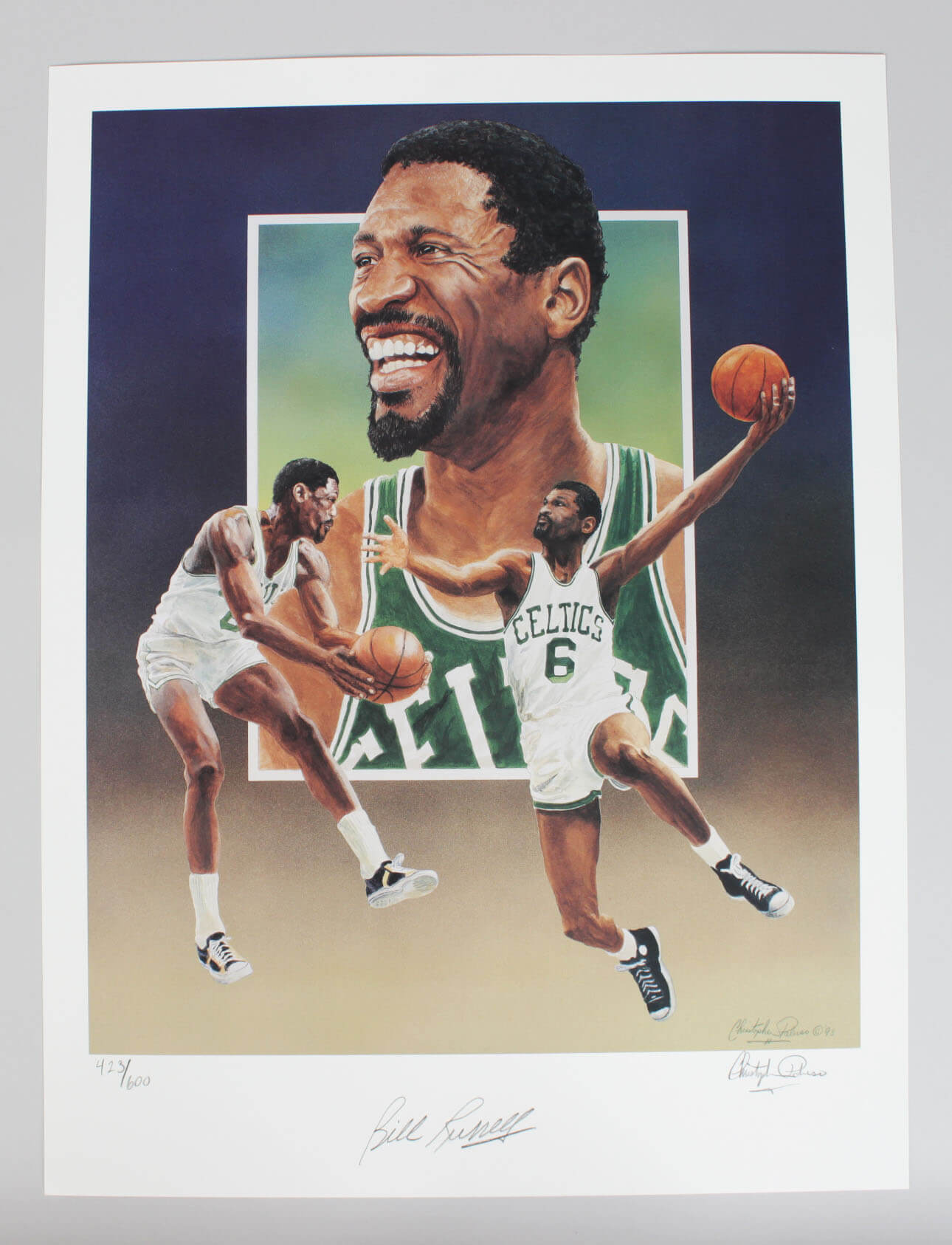 Boston Celtics Bill Russell Signed 16×20 Paluso Lithograph9320_01