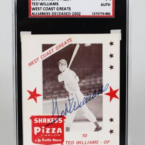 1975 Shakey's Pizza Boston Red Sox Ted Williams Signed West Coast Greats Card