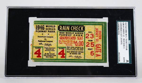 10/10/1946 World Series Ticket Stub Game 4 Cards 12 - Red Sox 3