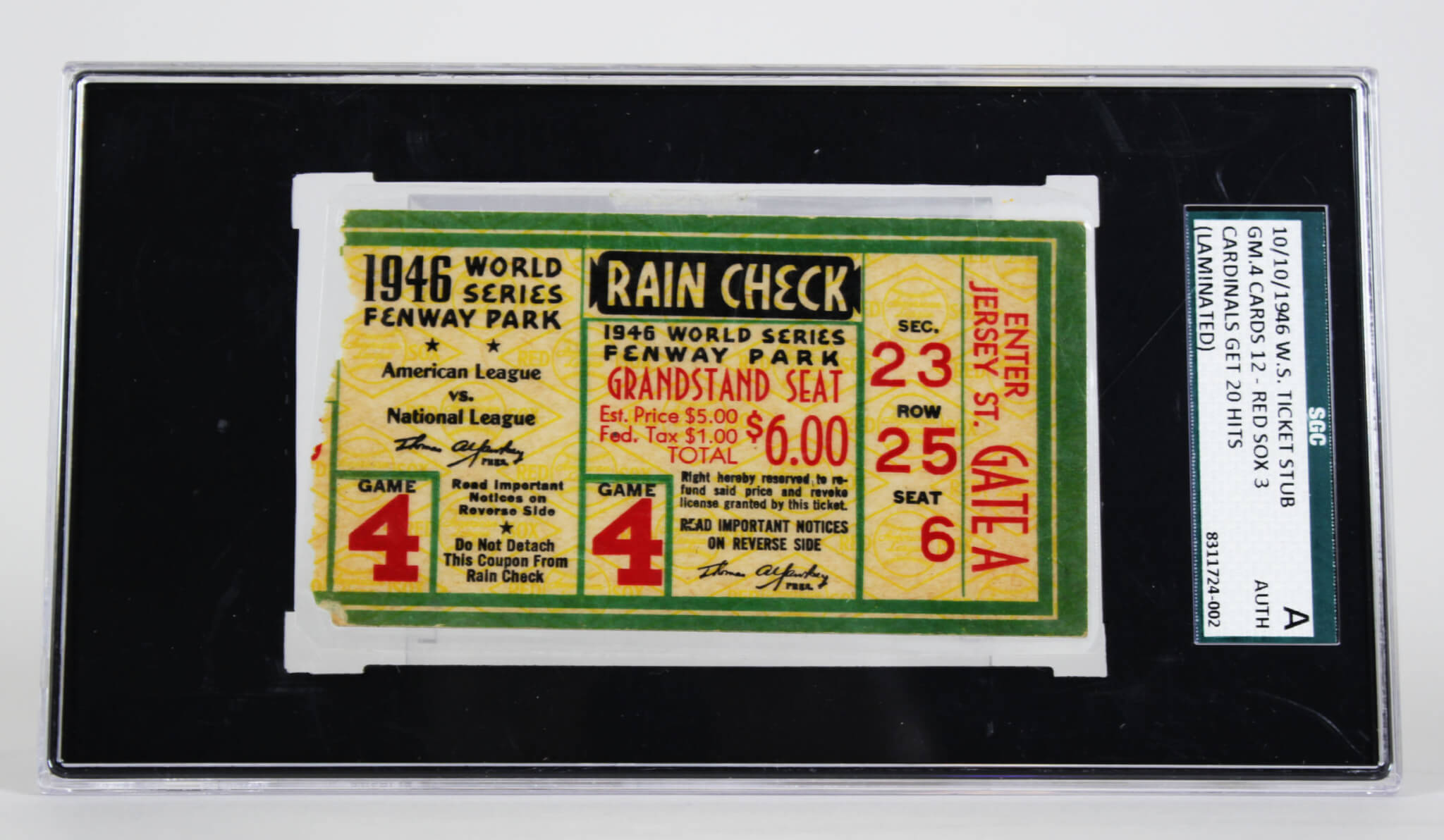 10/10/1946 World Series Ticket Stub Game 4 Cards 12 – Red Sox 39222_01