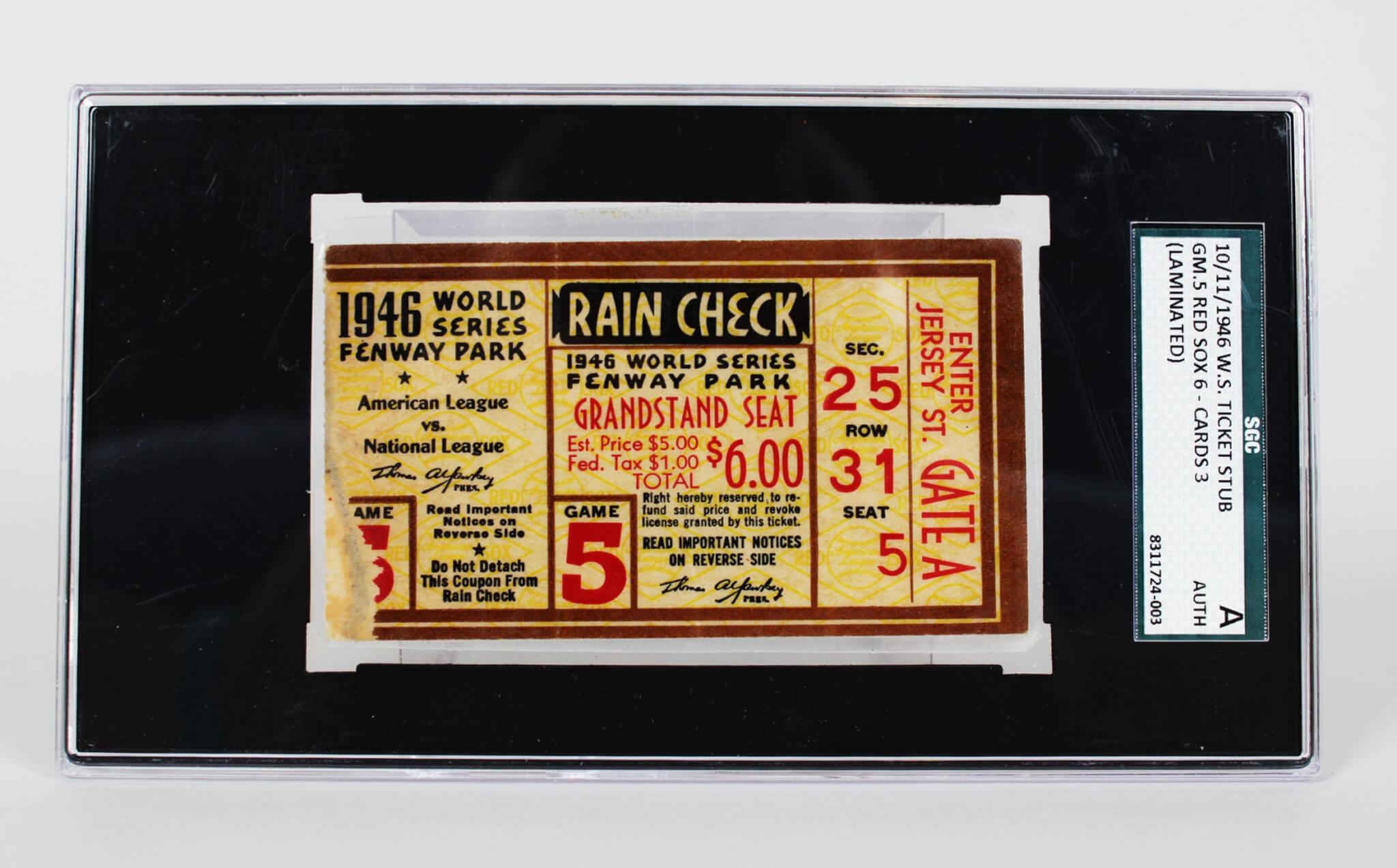 1946 world series ticket stub sgc memorabilia expert