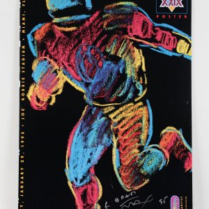 Official Super Bowl XXIX Poster Signed by Peter Max