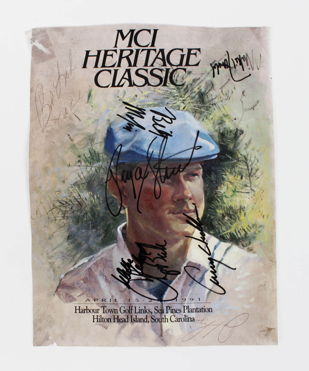 PGA Golf Legend - Payne Stewart Signed MCI Heritage Classic Program Cover +7 Sigs. Fred Funk, Chip Beck etc.