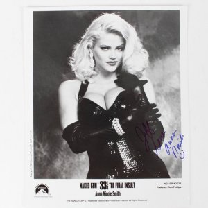 Anna Nicole Smith Signed & Inscribed (Love Smiley Face  ) 8x10 B&W Nake Gun Photo