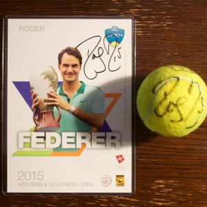 A Roger Federer Game-Used & Signed Official Match Ball.  2015 ATP Western & Southern Open (Men's Singles Champion).  Includes Signed Official Tournament Player Card.