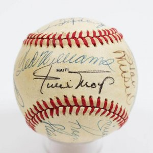1983 Old Timers Game at Comiskey Park All-Star Game Signed Official Ball Ted Williams , Willie Mays, Mickey Mantle, Roger Maris