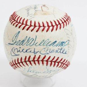 The Ultimate HOF Multi-Signed OAL (Harridge) Baseball 25+ Sigs. Incl. Casey Stengel, Lefty Grove, Joe DiMaggio, Mickey Mantle, Ted Williams, Sam Rice, Zack Wheat, Pie Traynor et al.