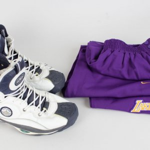 Los Angeles Lakers Dennis Rodman Game-Worn Warm-Up Pants & Signed Shoes