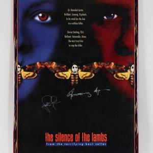 Silence of the Lambs Anthony Hopkins & Jodi Foster Signed 28x41 Display