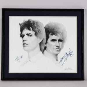 1989 Rolling Stones - Mick Jagger & Keith Richards Signed 20x24 Artwork -JSA Full LOA