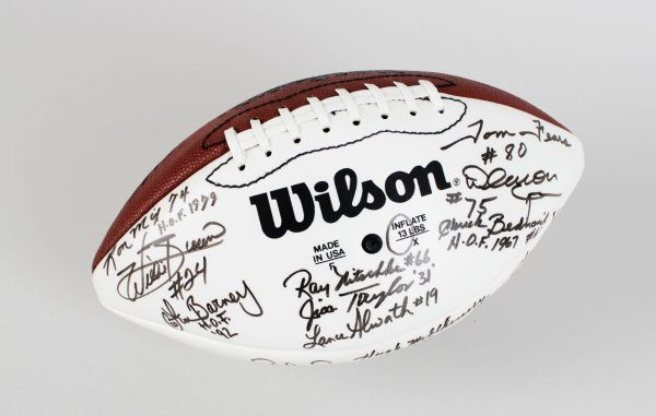 NFL H.O.F'ers Ray Nitschke, Gale Sayers, Otto Graham & 13 Others Signed Tagliabue Ball