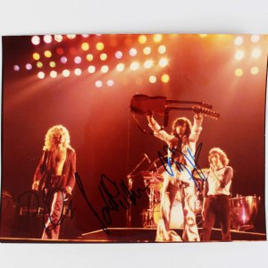 Led Zeppelin - Jimmy Paige, Robert Plant & Paul Jones Signed 8x10 Concert Photo (JSA Full LOA)