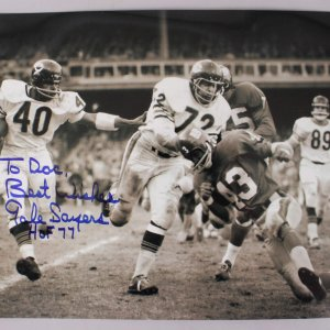 Chicago Bears Gale Sayers Signed & Inscribed 12x18 Photo
