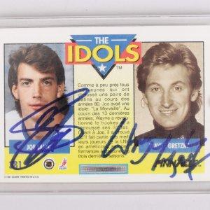 Joe Sakic & Wayne Gretzky Signed Pinnacle Card