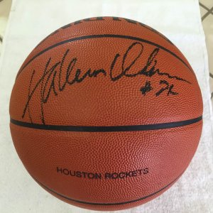1990's Houston Rockets Hakeem Olajuwon Signed and Game Used Basketball
