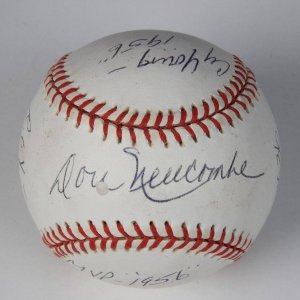 """Brooklyn Dodgers - Don Newcombe Signed & Inscribed """"CY Young '1956- MVP 1956"""" R.O.Y """"1949"""" #36 ONL (Coleman) Baseball"""