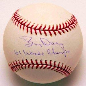 "Yankees - Bud Daley Signed, Inscribed ""61 World Champs"" Baseball"