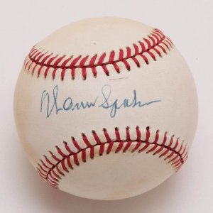 Braves - Warren Spahn Signed ONL (Feeney) Baseball - COA