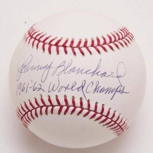 "Yankees - Johnny Blanchard Signed, Inscribed ""1961-'62 - World Champs"" Baseball"