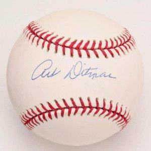 """Yankees - Art Ditmar Signed Baseball. Signed on the sweet spot of an OML (Selig) baseball in blue ballpoint (""""9"""")."""