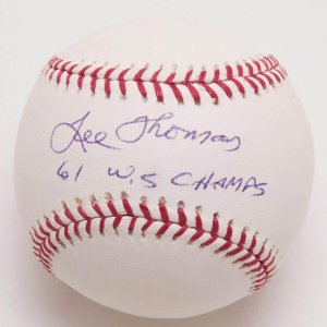 """Yankees - Lee Thomas Signed, Inscribed """"61 W.S. Champs"""" Baseball"""