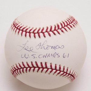 "Yankees - Lee Thomas Signed, Inscribed ""W.S. Champs 61"" Baseball (PSA/DNA COA)"