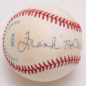 """Yankees - Frank Crosetti Signed, Inscribed """"The Crow"""" OAL Brown Baseball"""