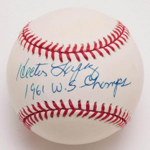 """Yankees - Hector Lopez Signed, Inscribed """"1961 W.S. Champs"""" Baseball"""